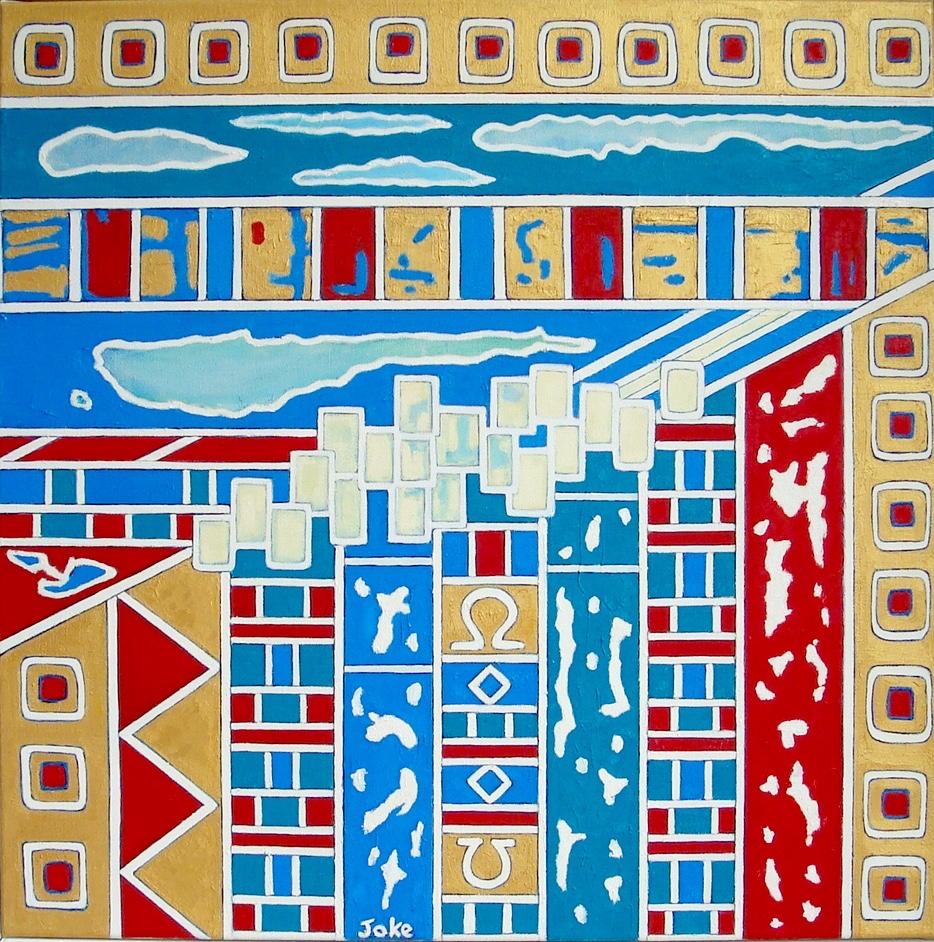 Versierde Stad - 1998 olie op doek 70x70